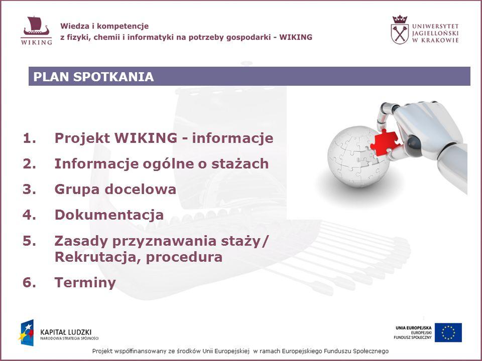 PLAN SPOTKANIA 1.Projekt WIKING - informacje 2.Informacje ogólne o stażach 3.Grupa docelowa 4.Dokumentacja 5.Zasady przyznawania staży/ Rekrutacja, pr