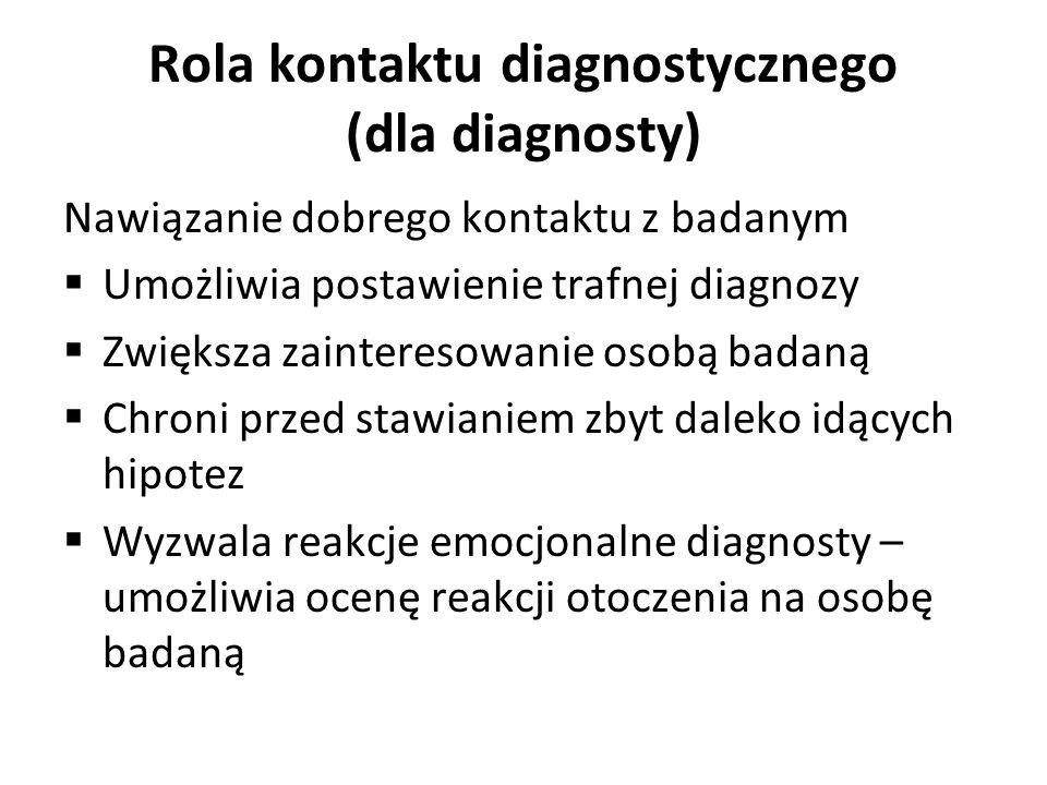 Rola kontaktu diagnostycznego (dla diagnosty) Nawiązanie dobrego kontaktu z badanym Umożliwia postawienie trafnej diagnozy Zwiększa zainteresowanie os