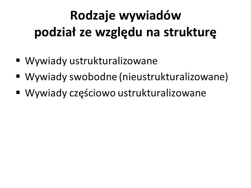Rodzaje wywiadów podział ze względu na strukturę Wywiady ustrukturalizowane Wywiady swobodne (nieustrukturalizowane) Wywiady częściowo ustrukturalizow