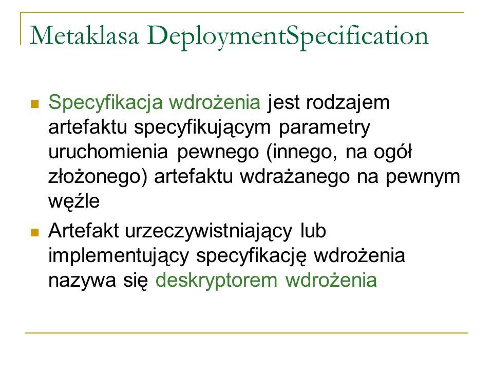 Metaklasa DeploymentSpecification Specyfikacja wdrożenia jest rodzajem artefaktu specyfikującym parametry uruchomienia pewnego (innego, na ogół złożonego) artefaktu wdrażanego na pewnym węźle Artefakt urzeczywistniający lub implementujący specyfikację wdrożenia nazywa się deskryptorem wdrożenia