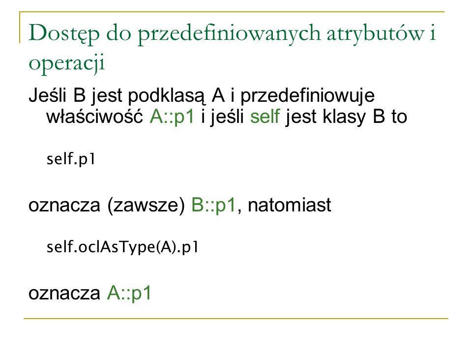 Dostęp do przedefiniowanych atrybutów i operacji Jeśli B jest podklasą A i przedefiniowuje właściwość A::p1 i jeśli self jest klasy B to self.p1 oznac