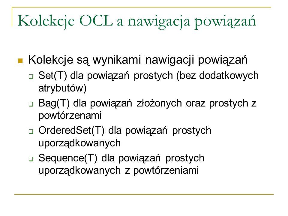 Kolekcje OCL a nawigacja powiązań Kolekcje są wynikami nawigacji powiązań Set(T) dla powiązań prostych (bez dodatkowych atrybutów) Bag(T) dla powiązań
