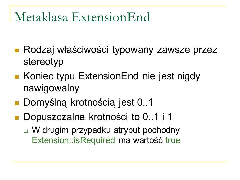 Metaklasa ExtensionEnd Rodzaj właściwości typowany zawsze przez stereotyp Koniec typu ExtensionEnd nie jest nigdy nawigowalny Domyślną krotnością jest