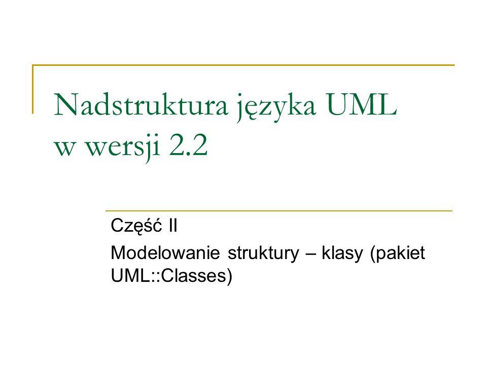 Nadstruktura języka UML w wersji 2.2 Część II Modelowanie struktury – klasy (pakiet UML::Classes)