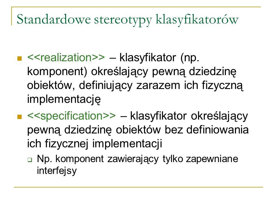 Standardowe stereotypy klasyfikatorów > – klasyfikator (np. komponent) określający pewną dziedzinę obiektów, definiujący zarazem ich fizyczną implemen