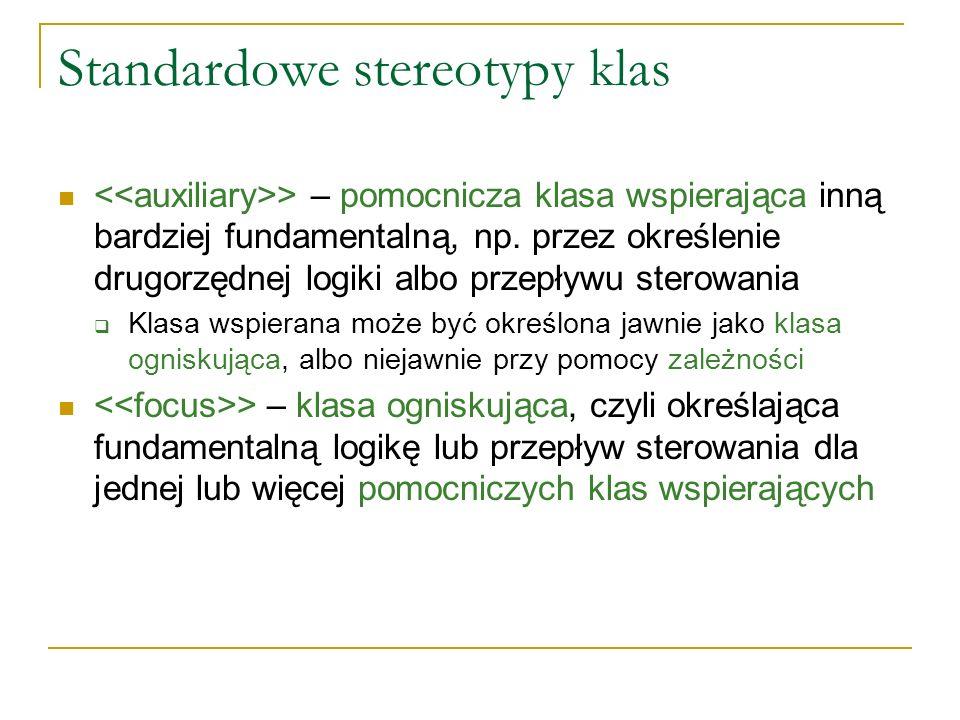 Standardowe stereotypy klas > – pomocnicza klasa wspierająca inną bardziej fundamentalną, np. przez określenie drugorzędnej logiki albo przepływu ster