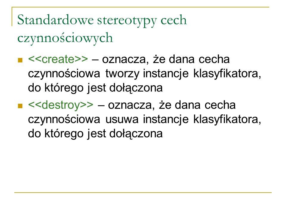 Standardowe stereotypy cech czynnościowych > – oznacza, że dana cecha czynnościowa tworzy instancje klasyfikatora, do którego jest dołączona > – oznac