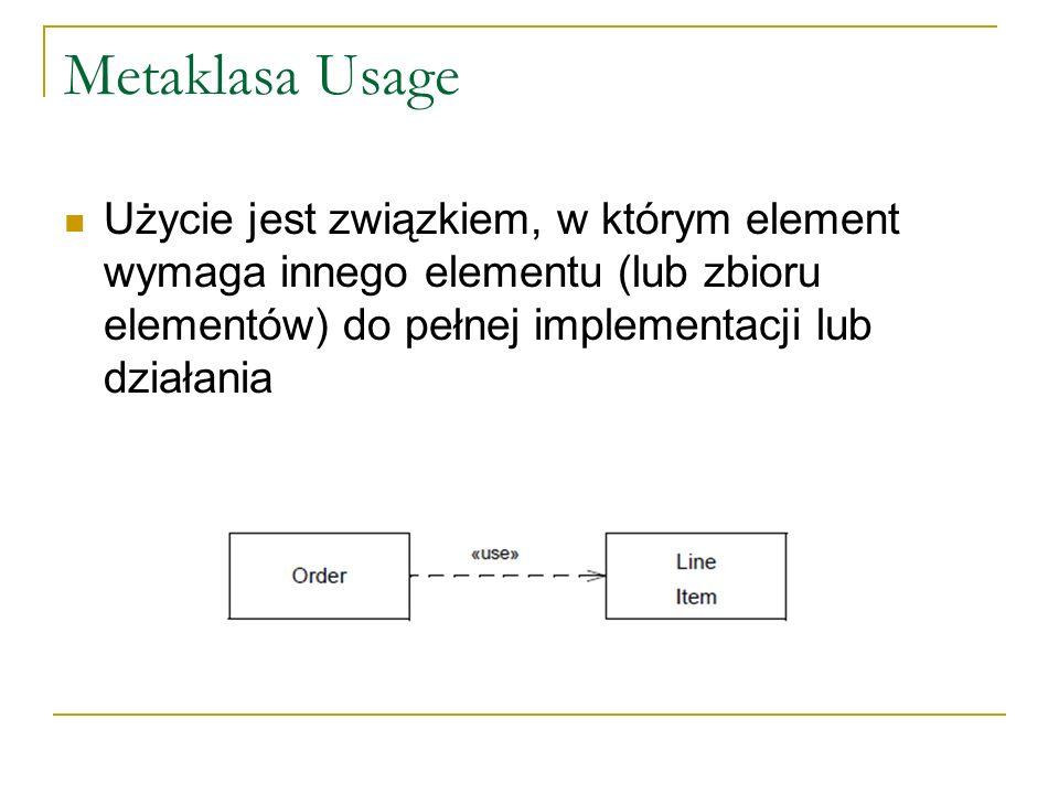 Metaklasa Usage Użycie jest związkiem, w którym element wymaga innego elementu (lub zbioru elementów) do pełnej implementacji lub działania