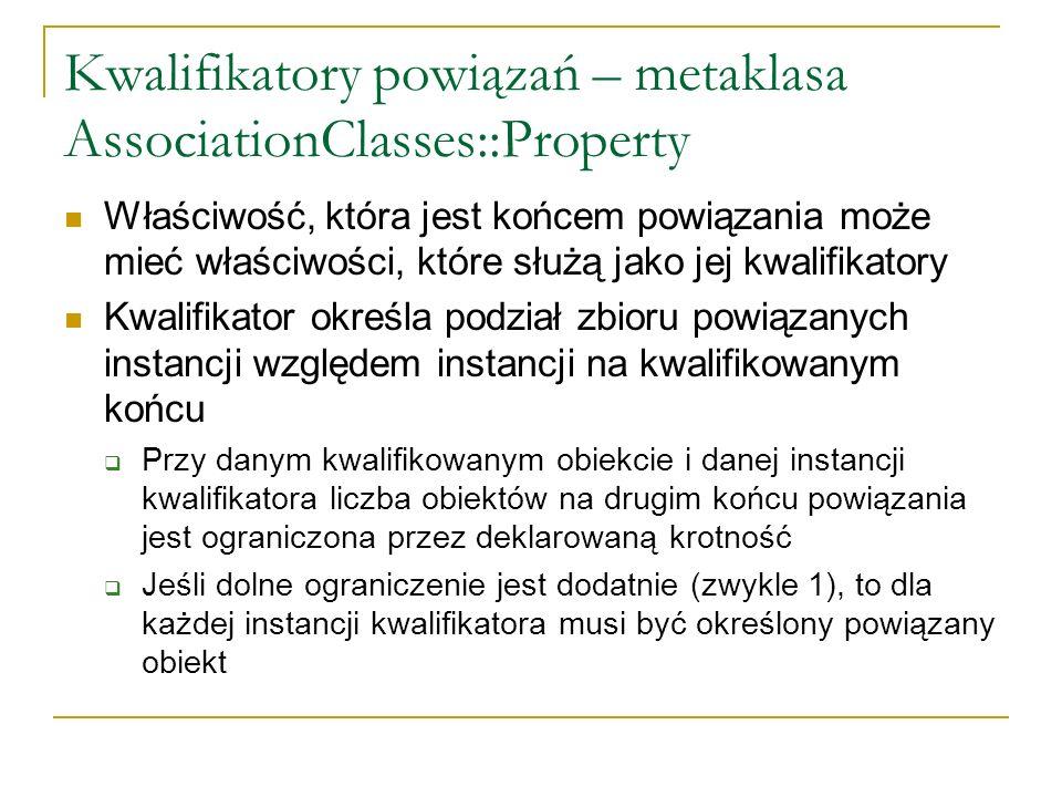 Kwalifikatory powiązań – metaklasa AssociationClasses::Property Właściwość, która jest końcem powiązania może mieć właściwości, które służą jako jej k
