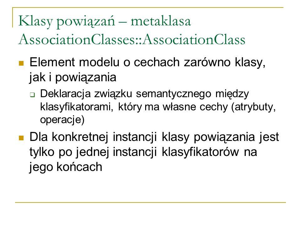 Klasy powiązań – metaklasa AssociationClasses::AssociationClass Element modelu o cechach zarówno klasy, jak i powiązania Deklaracja związku semantyczn