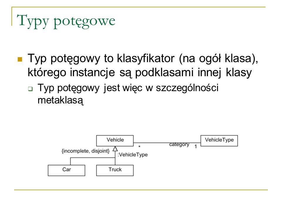Typy potęgowe Typ potęgowy to klasyfikator (na ogół klasa), którego instancje są podklasami innej klasy Typ potęgowy jest więc w szczególności metakla