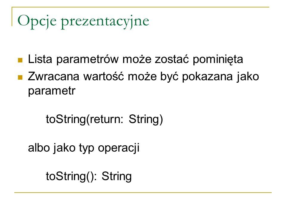 Opcje prezentacyjne Lista parametrów może zostać pominięta Zwracana wartość może być pokazana jako parametr toString(return: String) albo jako typ ope