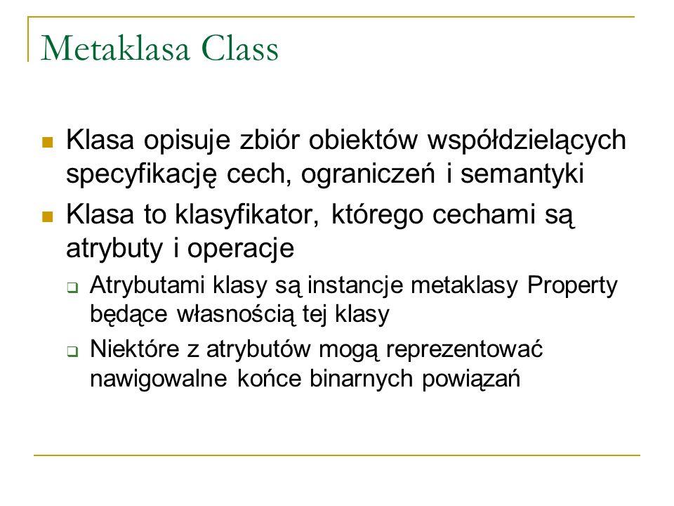 Metaklasa Class Klasa opisuje zbiór obiektów współdzielących specyfikację cech, ograniczeń i semantyki Klasa to klasyfikator, którego cechami są atryb