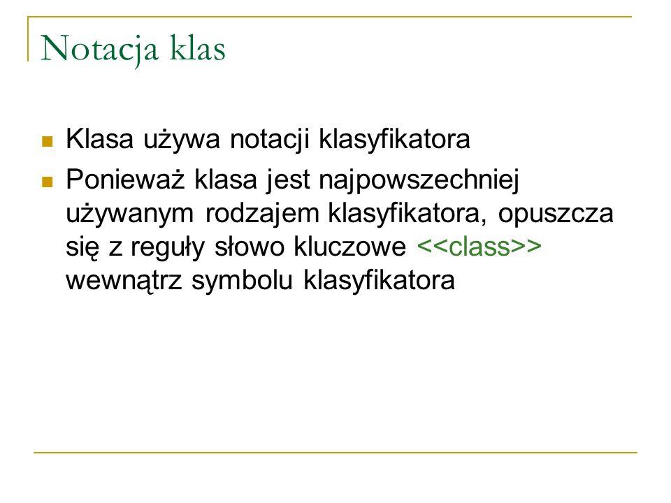 Notacja klas Klasa używa notacji klasyfikatora Ponieważ klasa jest najpowszechniej używanym rodzajem klasyfikatora, opuszcza się z reguły słowo kluczo