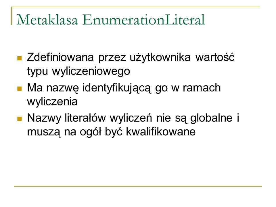 Metaklasa EnumerationLiteral Zdefiniowana przez użytkownika wartość typu wyliczeniowego Ma nazwę identyfikującą go w ramach wyliczenia Nazwy literałów