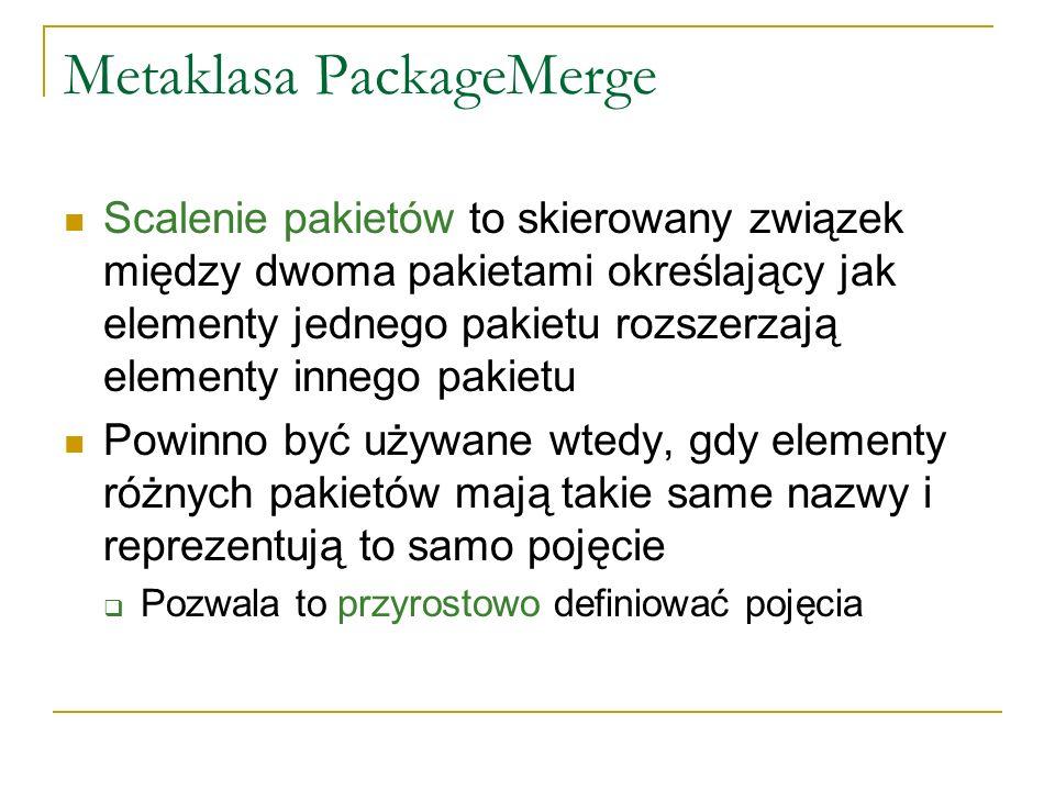Metaklasa PackageMerge Scalenie pakietów to skierowany związek między dwoma pakietami określający jak elementy jednego pakietu rozszerzają elementy in