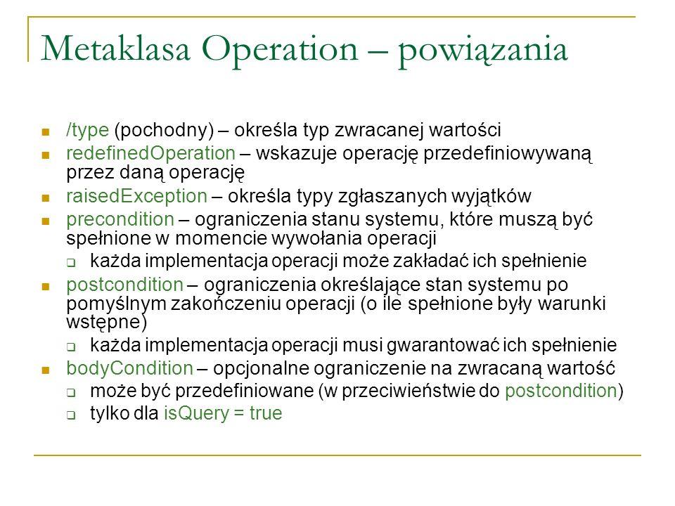 Metaklasa Operation – semantyka dodatkowa Jeśli wywołanie operacji zgłasza wyjątek, nie można zakładać spełnienia ograniczeń postcondition i bodyCondition Na tym poziomie nie określa się zachowania wywołania operacji wobec niespełnienia warunków precondition