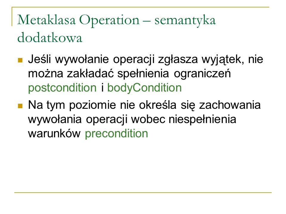 Metaklasa Operation – semantyka dodatkowa Jeśli wywołanie operacji zgłasza wyjątek, nie można zakładać spełnienia ograniczeń postcondition i bodyCondi