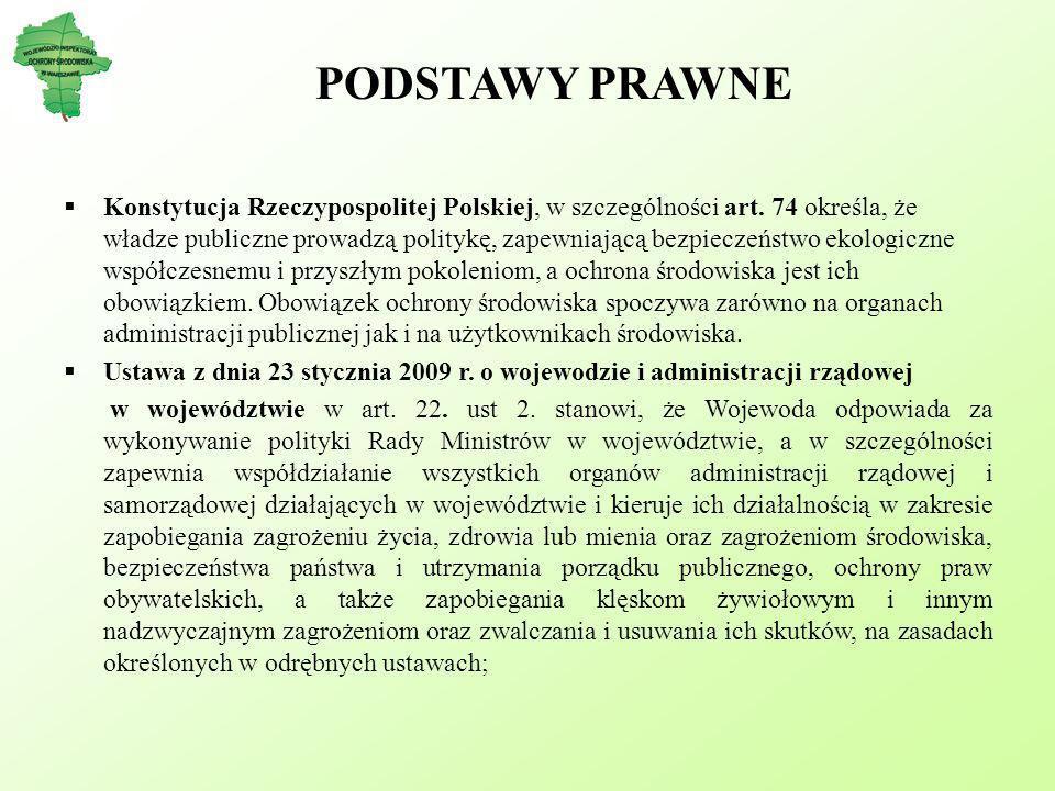 PODSTAWY PRAWNE Konstytucja Rzeczypospolitej Polskiej, w szczególności art. 74 określa, że władze publiczne prowadzą politykę, zapewniającą bezpieczeń