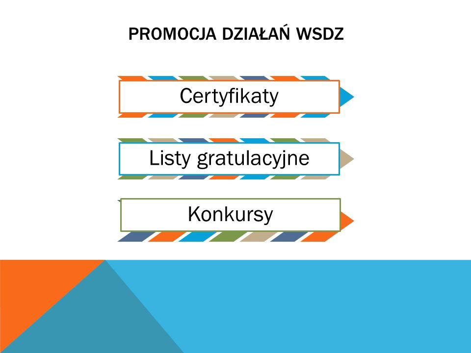 PROMOCJA DZIAŁAŃ WSDZCertyfikaty Listy gratulacyjne Konkursy