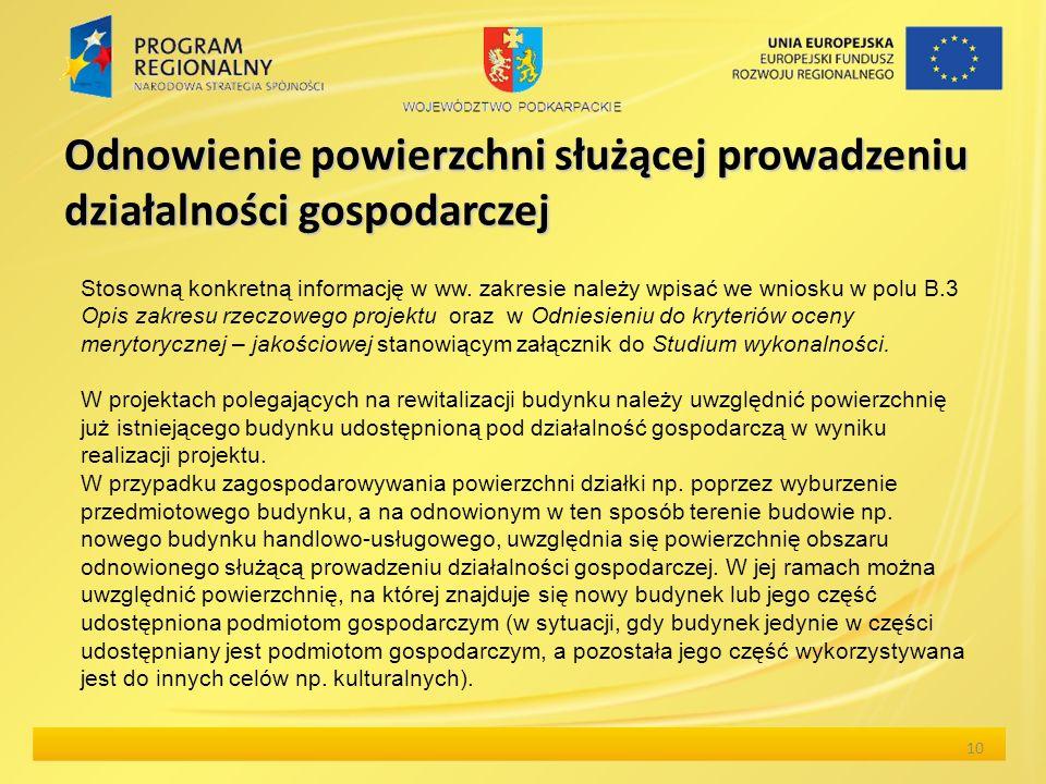 Odnowienie powierzchni służącej prowadzeniu działalności gospodarczej 10 Stosowną konkretną informację w ww.