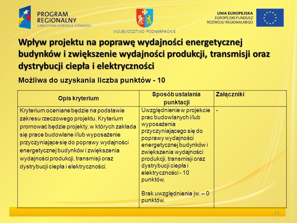 Wpływ projektu na poprawę wydajności energetycznej budynków i zwiększenie wydajności produkcji, transmisji oraz dystrybucji ciepła i elektryczności 11 Opis kryterium Sposób ustalania punktacji Załączniki Kryterium oceniane będzie na podstawie zakresu rzeczowego projektu.