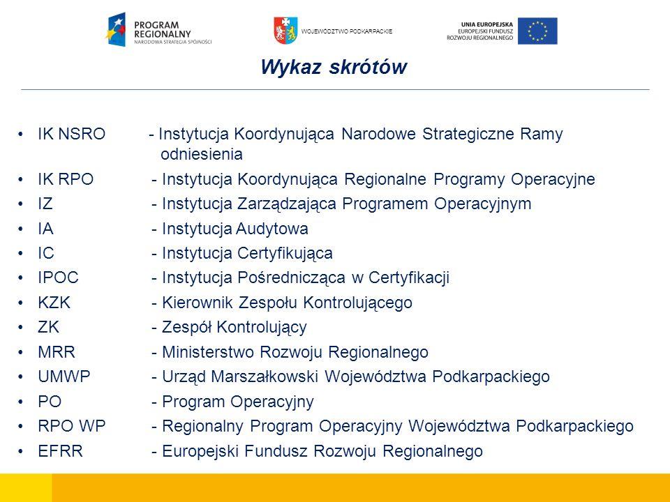 Wykaz skrótów IK NSRO - Instytucja Koordynująca Narodowe Strategiczne Ramy odniesienia IK RPO- Instytucja Koordynująca Regionalne Programy Operacyjne