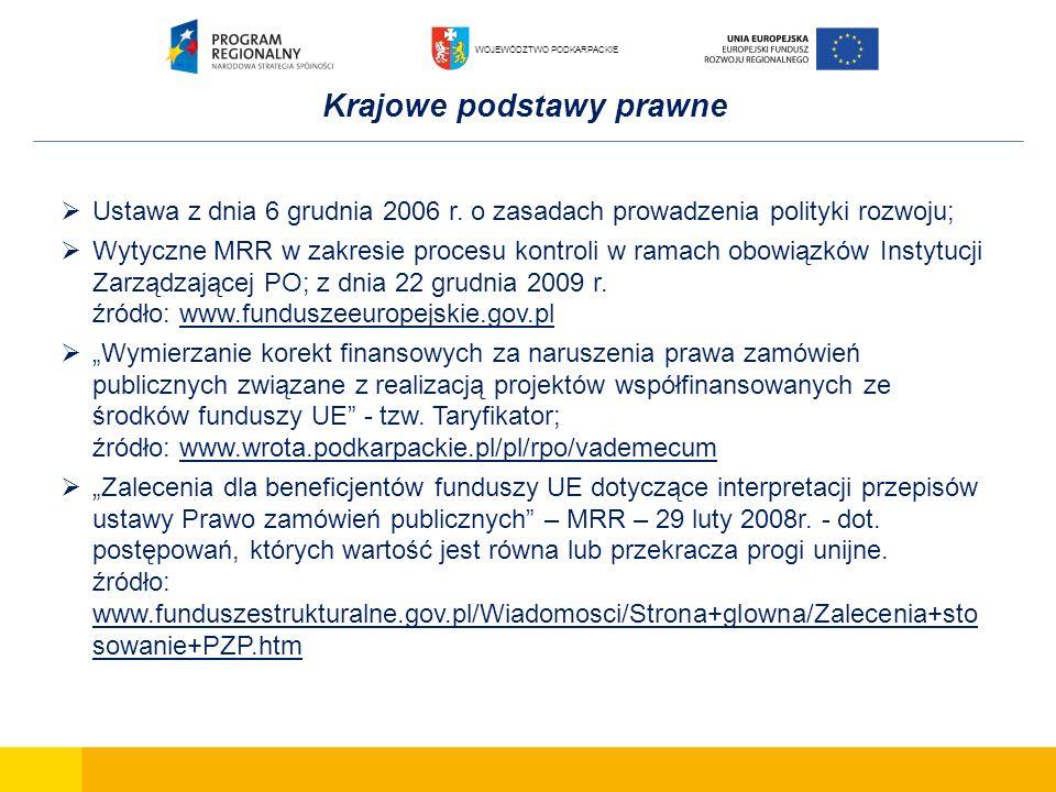 Krajowe podstawy prawne Ustawa z dnia 6 grudnia 2006 r. o zasadach prowadzenia polityki rozwoju; Wytyczne MRR w zakresie procesu kontroli w ramach obo