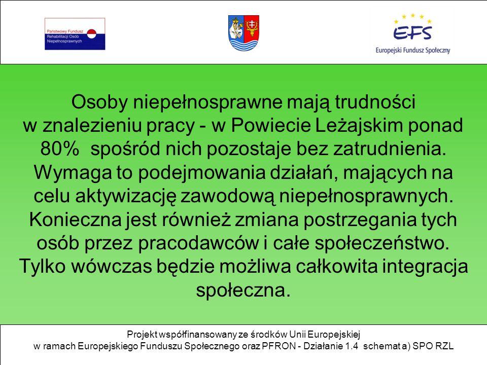Osoby niepełnosprawne mają trudności w znalezieniu pracy - w Powiecie Leżajskim ponad 80% spośród nich pozostaje bez zatrudnienia.