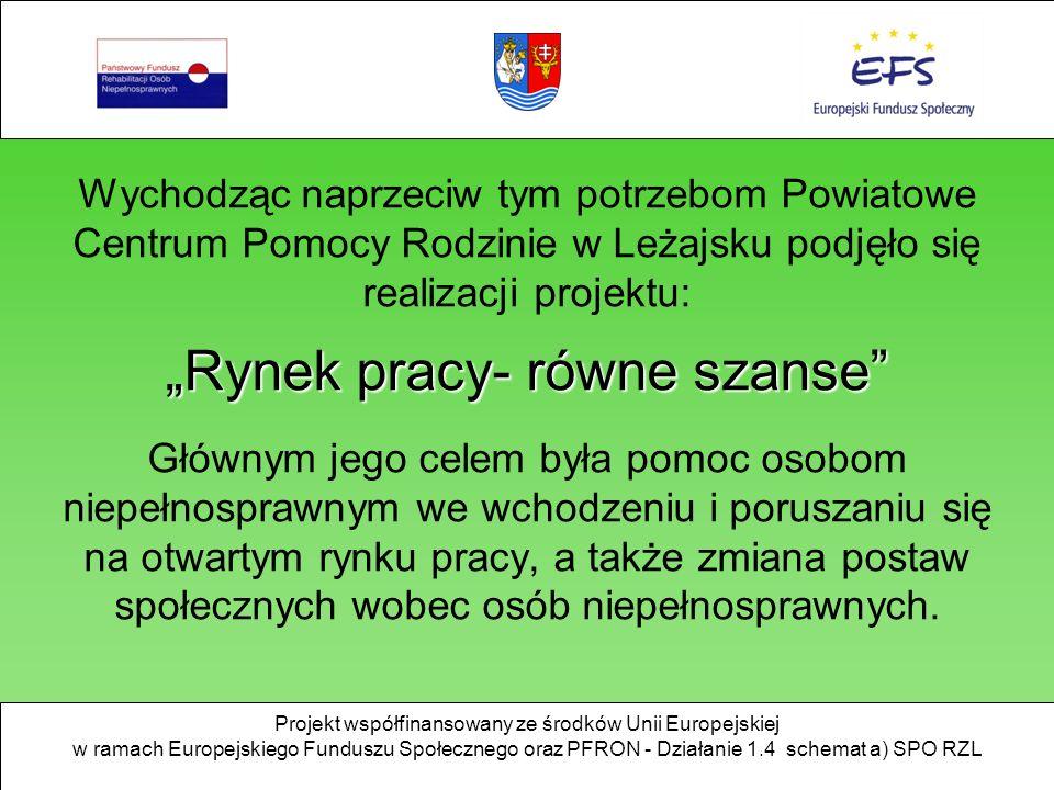 Projekt współfinansowany ze środków Unii Europejskiej w ramach Europejskiego Funduszu Społecznego oraz PFRON - Działanie 1.4 schemat a) SPO RZL Wychod