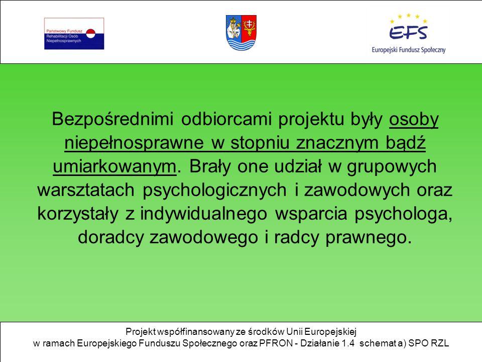 Projekt współfinansowany ze środków Unii Europejskiej w ramach Europejskiego Funduszu Społecznego oraz PFRON - Działanie 1.4 schemat a) SPO RZL Bezpośrednimi odbiorcami projektu były osoby niepełnosprawne w stopniu znacznym bądź umiarkowanym.