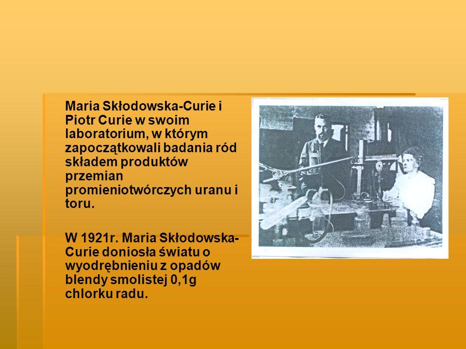 Maria Skłodowska-Curie i Piotr Curie w swoim laboratorium, w którym zapoczątkowali badania ród składem produktów przemian promieniotwórczych uranu i t