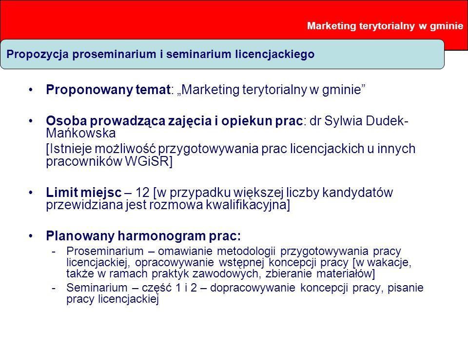 Proponowana problematyka prac Proponowany temat: Marketing terytorialny w gminie Osoba prowadząca zajęcia i opiekun prac: dr Sylwia Dudek- Mańkowska [