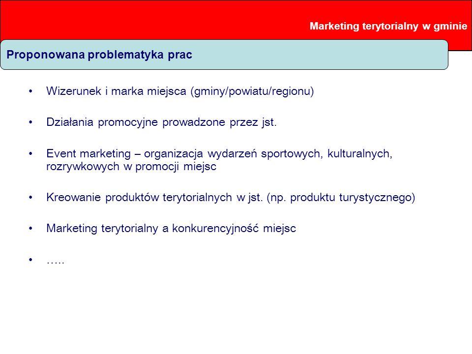 Proponowana problematyka prac Wizerunek i marka miejsca (gminy/powiatu/regionu) Działania promocyjne prowadzone przez jst. Event marketing – organizac
