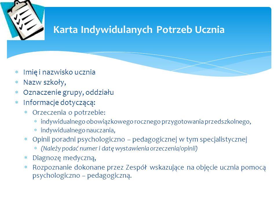 Imię i nazwisko ucznia Nazw szkoły, Oznaczenie grupy, oddziału Informacje dotyczącą: Orzeczenia o potrzebie: indywidualnego obowiązkowego rocznego prz