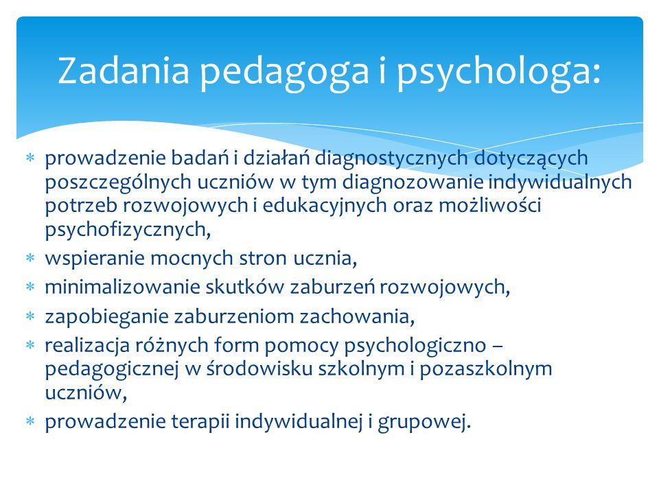 prowadzenie badań i działań diagnostycznych dotyczących poszczególnych uczniów w tym diagnozowanie indywidualnych potrzeb rozwojowych i edukacyjnych o