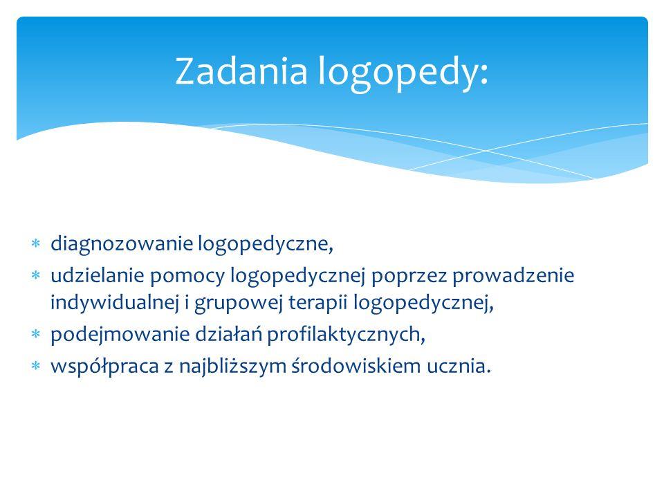 diagnozowanie logopedyczne, udzielanie pomocy logopedycznej poprzez prowadzenie indywidualnej i grupowej terapii logopedycznej, podejmowanie działań p