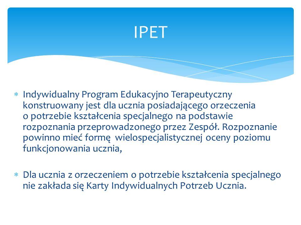 Indywidualny Program Edukacyjno Terapeutyczny konstruowany jest dla ucznia posiadającego orzeczenia o potrzebie kształcenia specjalnego na podstawie r