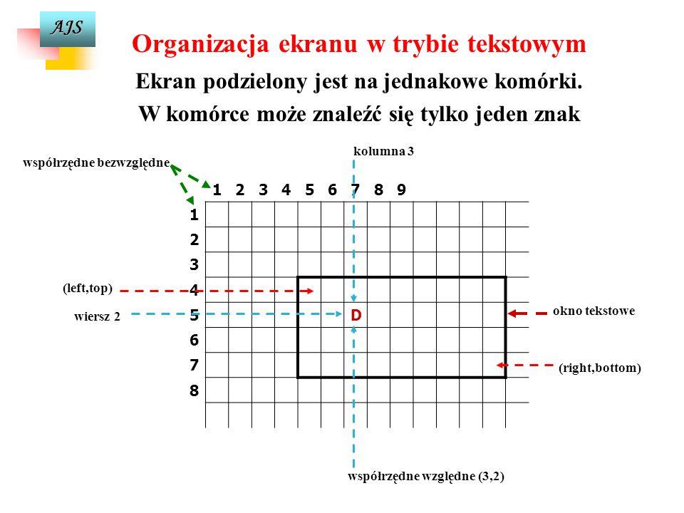 AJS Sterowanie wyglądem i sposobem kreślenia linii setlinestyle(int linestyle, unsigned upattern, int thickness); – ustalenie aktualnego rodzaju linii (faktury) –linestyle i jej grubości –thickness, gdy linia definiowana jest przez użytkownika wartość parametru upattern określa wzór linii użytkownika.