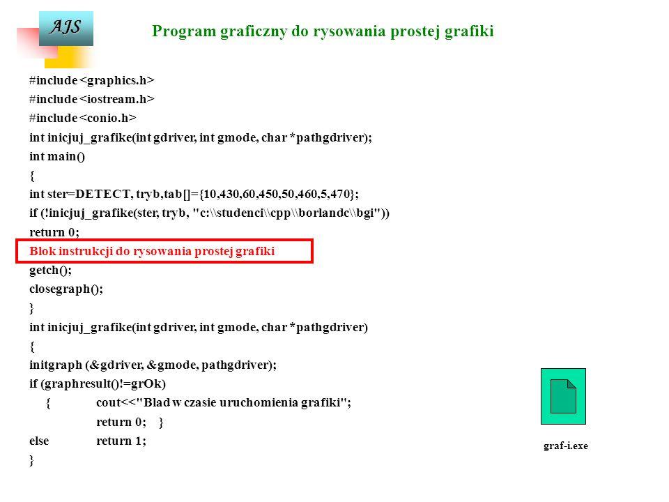 AJS Teksty w trybie graficznym settextjustyfy(int horiz, int vert); – tryb justowania tekstu dla poziomego horiz ( LEFT_TEXT – 0) i pionowego vert (BO
