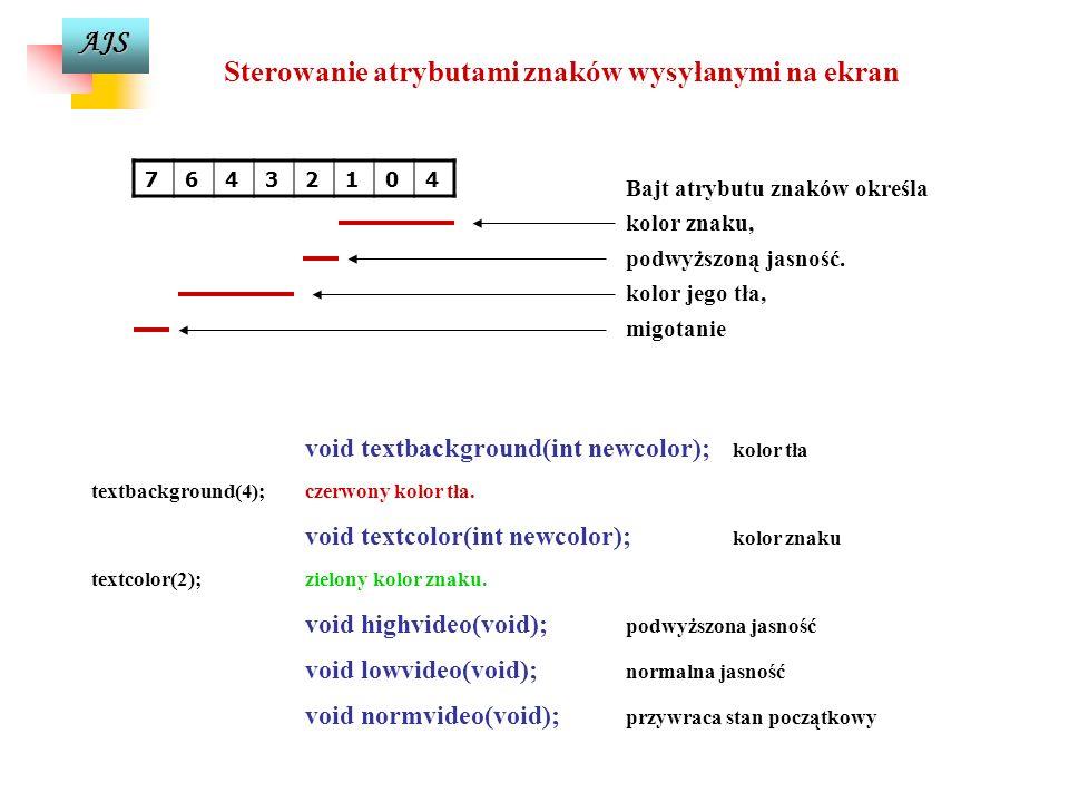 AJS Sterowanie atrybutami znaków wysyłanymi na ekran Bajt atrybutu znaków określa kolor znaku, podwyższoną jasność.