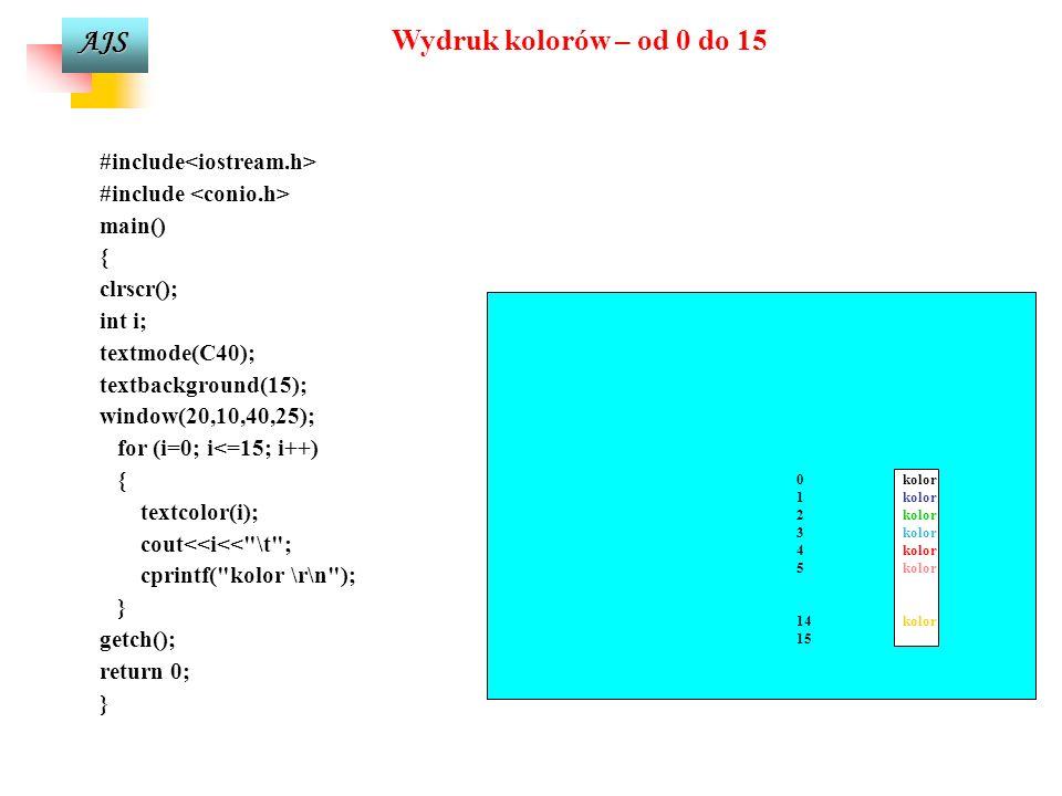 AJS setbkcolor(15);//kolor tla - bialy putpixel(100,5,4); //rysowanie punktu (kolor czerwony) setcolor(4);//kolor rysowania - czerwony settextstyle(10,HORIZ_DIR,0);//ustawienie stylu tekstu outtextxy(105,5, - putpixel(100,5,4);- punkt );//wyprowadzenie tekstu moveto(20,40);//ustalenie aktualnego polozenia wskaznika setcolor(2); lineto(100,40);//rysowanie linii do punktu setcolor(1); setlinestyle(0,0,3);//ustawienie stylu linii (ciagla pogrubiona) line(20,60,100,60); outtextxy(105,60, - line(20,60,100,60);- ostatnia linia ); setcolor(5); circle(50,100,20);//rysowanie okregu outtextxy(105,100, - circle(50,100,20);- okrag ); setcolor(6); ellipse(50,140,0,270,30,10);//rysowanie elipsy outtextxy(105,140, - ellipse(50,140,0,270,30,10);- elipsa ); setcolor(7); arc(50,180,100,250,20);//rysowanie luku outtextxy(105,180, - arc(50,180,100,250,20); -luk ); Blok instrukcji do rysowania prostej grafiki