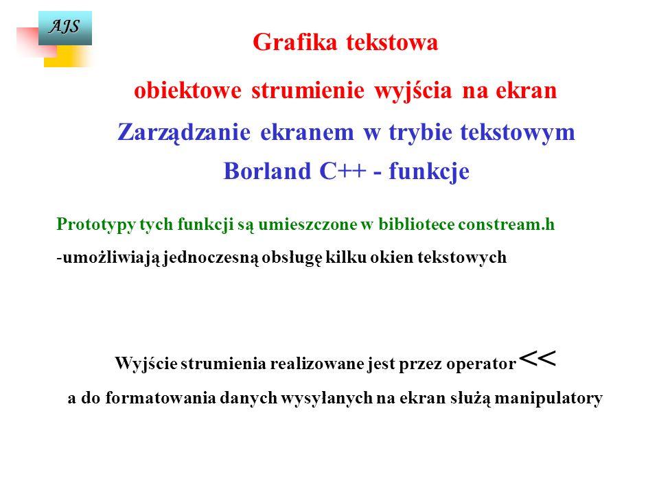 AJS Grafika tekstowa obiektowe strumienie wyjścia na ekran Zarządzanie ekranem w trybie tekstowym Borland C++ - funkcje Prototypy tych funkcji są umieszczone w bibliotece constream.h -umożliwiają jednoczesną obsługę kilku okien tekstowych Wyjście strumienia realizowane jest przez operator << a do formatowania danych wysyłanych na ekran służą manipulatory