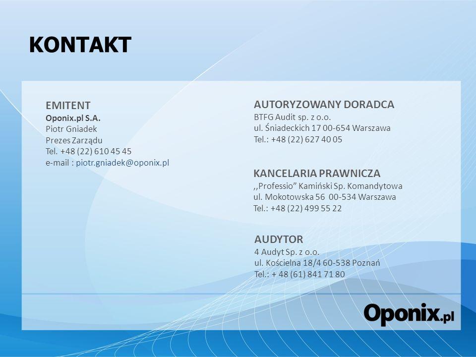KONTAKT EMITENT Oponix.pl S.A. Piotr Gniadek Prezes Zarządu Tel. +48 (22) 610 45 45 e-mail : piotr.gniadek@oponix.pl AUTORYZOWANY DORADCA BTFG Audit s