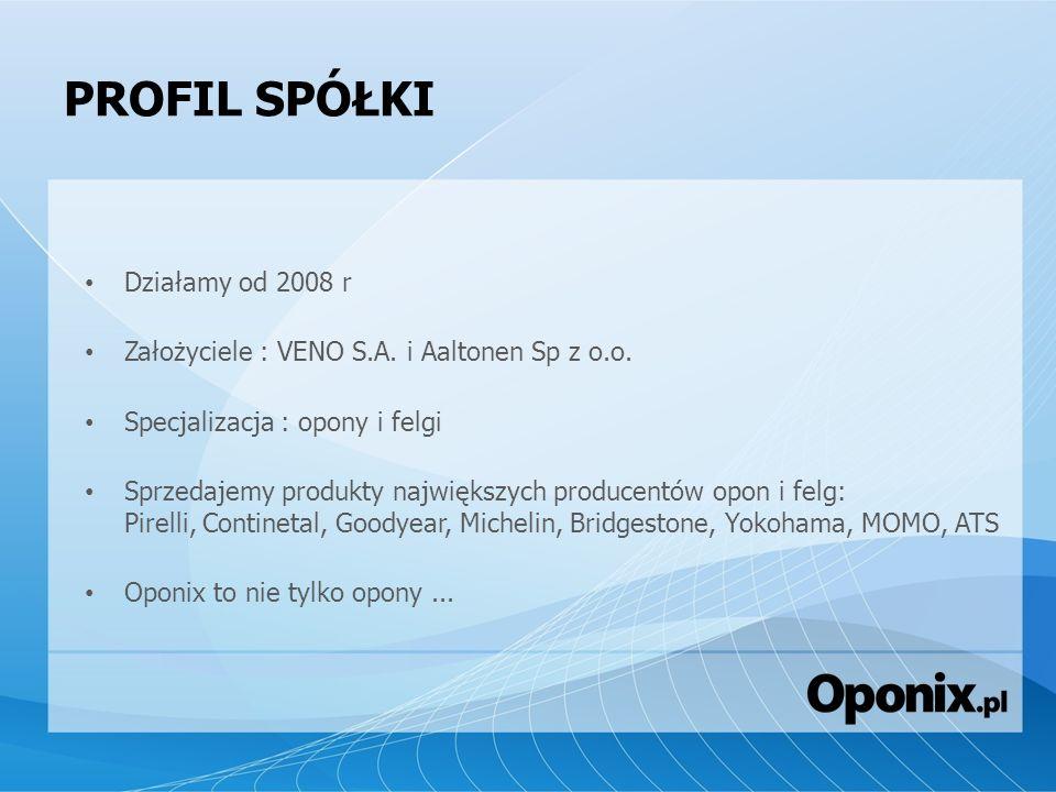 PROFIL SPÓŁKI Działamy od 2008 r Założyciele : VENO S.A. i Aaltonen Sp z o.o. Specjalizacja : opony i felgi Sprzedajemy produkty największych producen