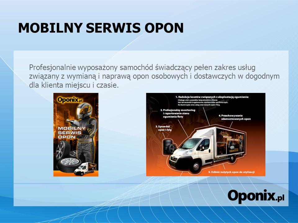 MOBILNY SERWIS OPON Profesjonalnie wyposażony samochód świadczący pełen zakres usług związany z wymianą i naprawą opon osobowych i dostawczych w dogod