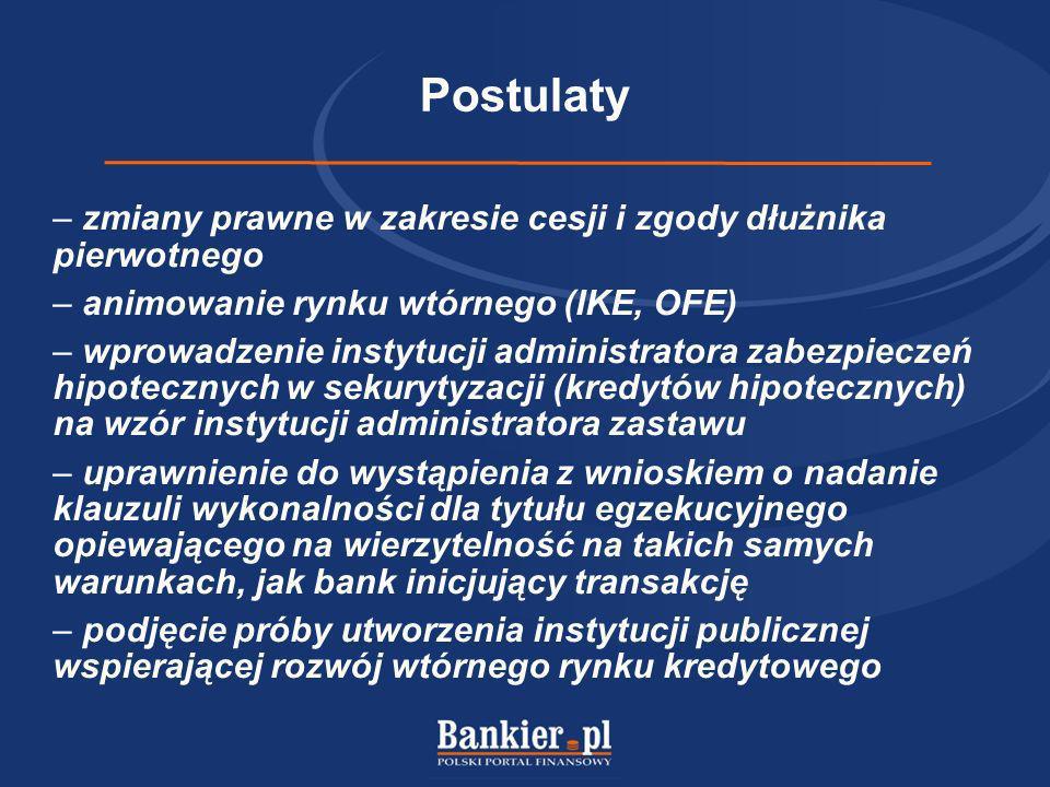Postulaty – zmiany prawne w zakresie cesji i zgody dłużnika pierwotnego – animowanie rynku wtórnego (IKE, OFE) – wprowadzenie instytucji administrator