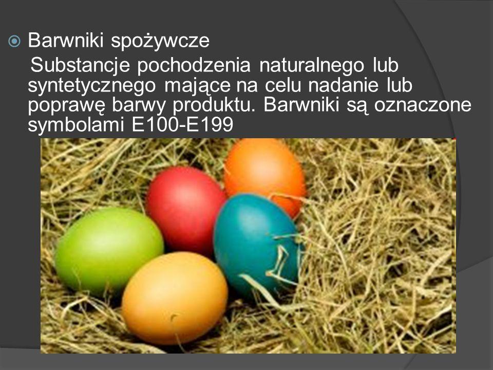 Barwniki spożywcze Substancje pochodzenia naturalnego lub syntetycznego mające na celu nadanie lub poprawę barwy produktu. Barwniki są oznaczone symbo