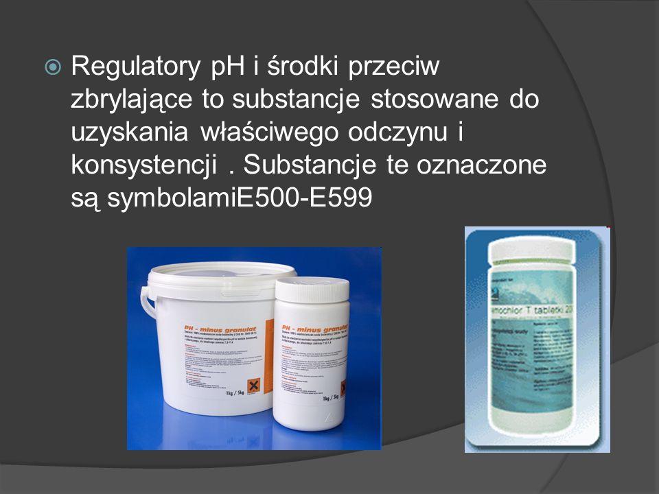 Regulatory pH i środki przeciw zbrylające to substancje stosowane do uzyskania właściwego odczynu i konsystencji. Substancje te oznaczone są symbolami