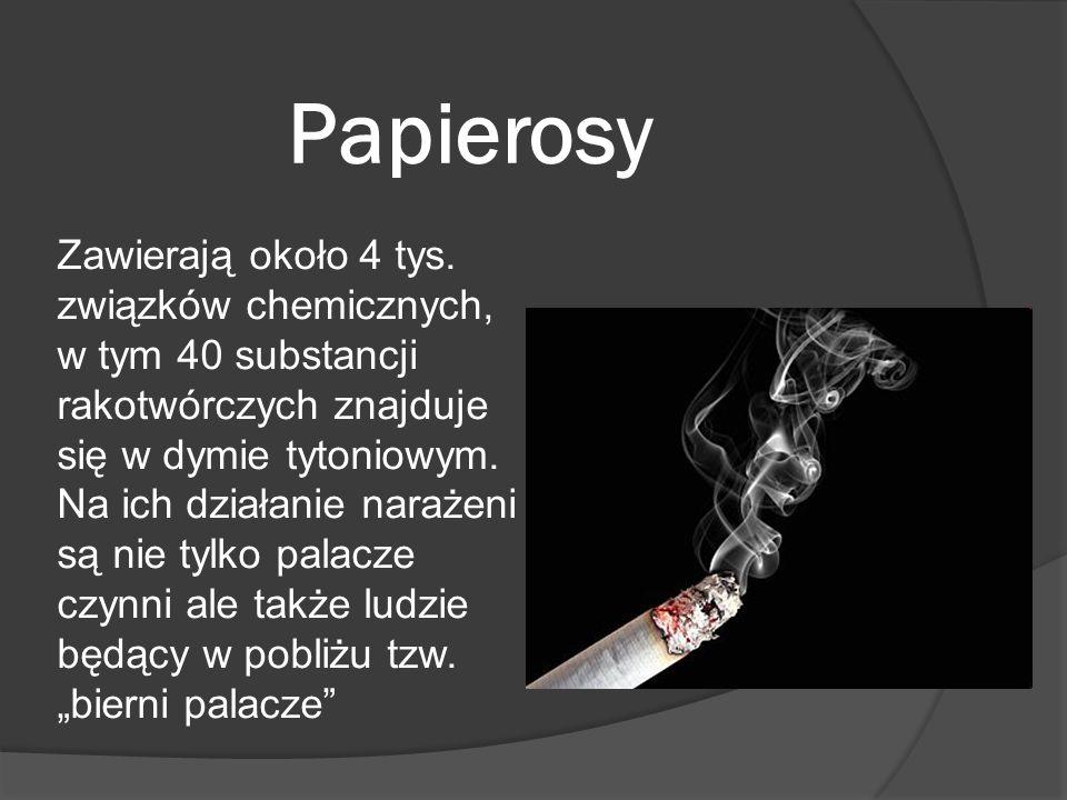 Papierosy Zawierają około 4 tys. związków chemicznych, w tym 40 substancji rakotwórczych znajduje się w dymie tytoniowym. Na ich działanie narażeni są